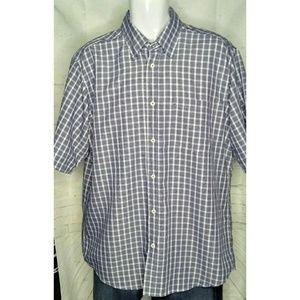 Bugatchi Uomo Short Sleeve Blk/Wh Shirt SZ XL
